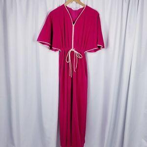 1970s Vanity Fair Pink Fleece Lounge Dress